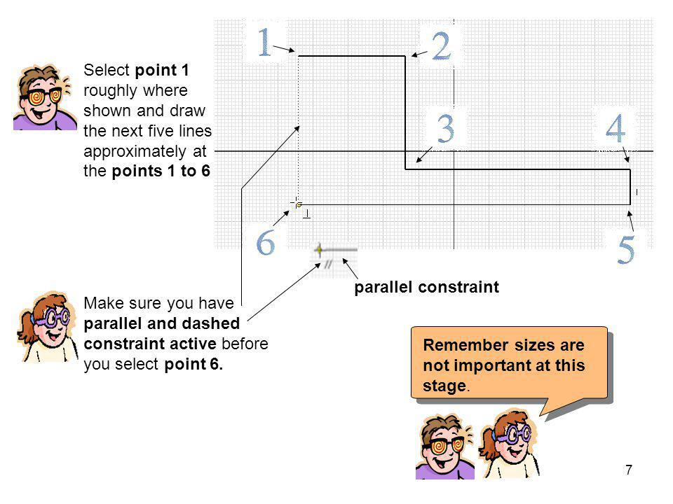 Select point 1 roughly where shown and draw the next five lines approximately at the points 1 to 6