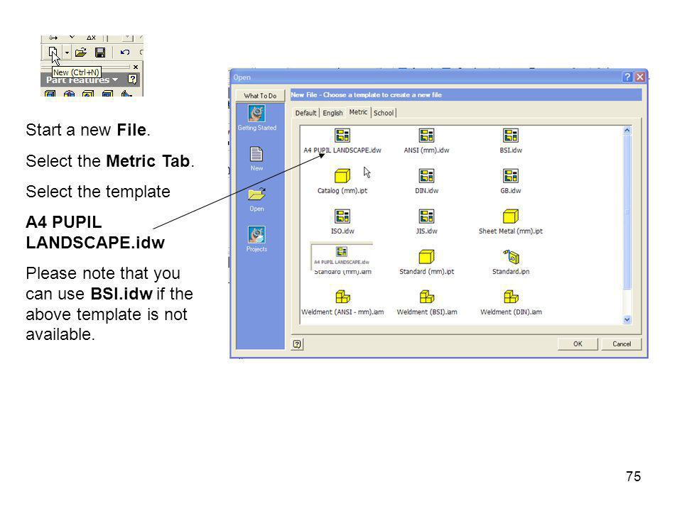 Start a new File. Select the Metric Tab. Select the template. A4 PUPIL LANDSCAPE.idw.