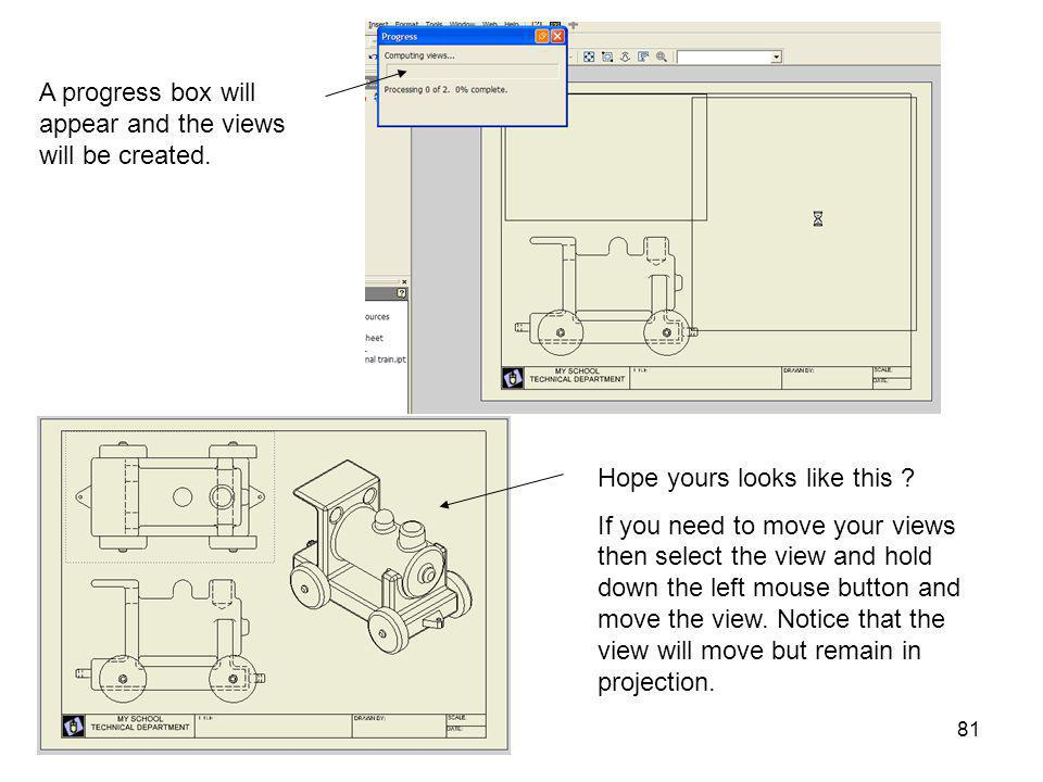 A progress box will appear and the views will be created.