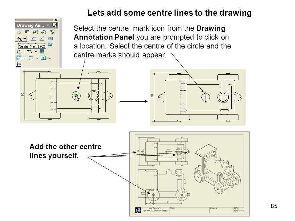 Lets add some centre lines to the drawing