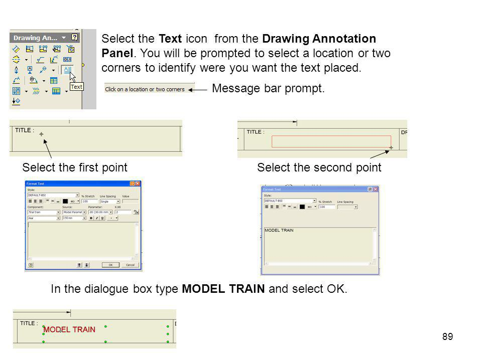 In the dialogue box type MODEL TRAIN and select OK.