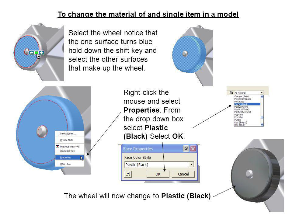 To change the material of and single item in a model