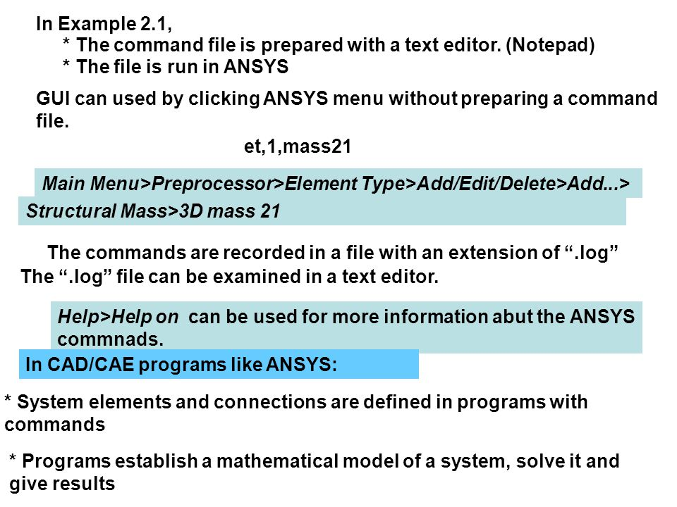 In Example 2.1, * The command file is prepared with a text editor. (Notepad) * The file is run in ANSYS.