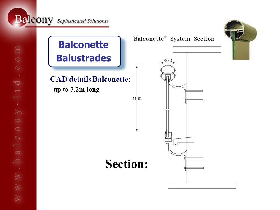 Section: Balconette Balustrades CAD details Balconette: