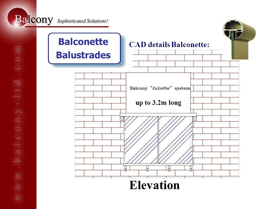 Elevation Balconette Balustrades CAD details Balconette:
