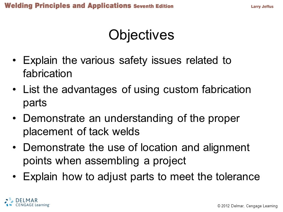 Objectives Explain the various safety issues related to fabrication