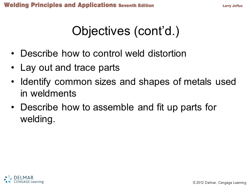 Objectives (cont'd.) Describe how to control weld distortion