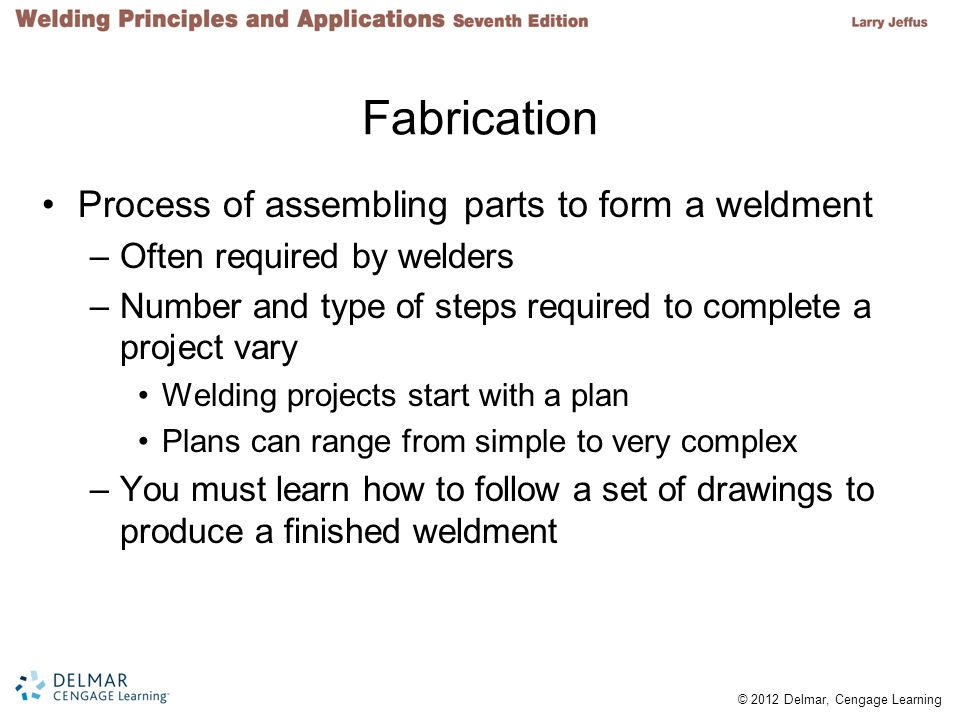 Fabrication Process of assembling parts to form a weldment