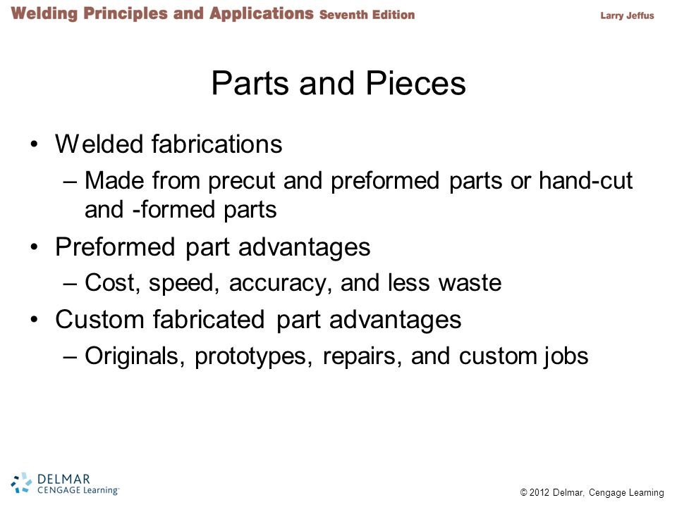 Parts and Pieces Welded fabrications Preformed part advantages
