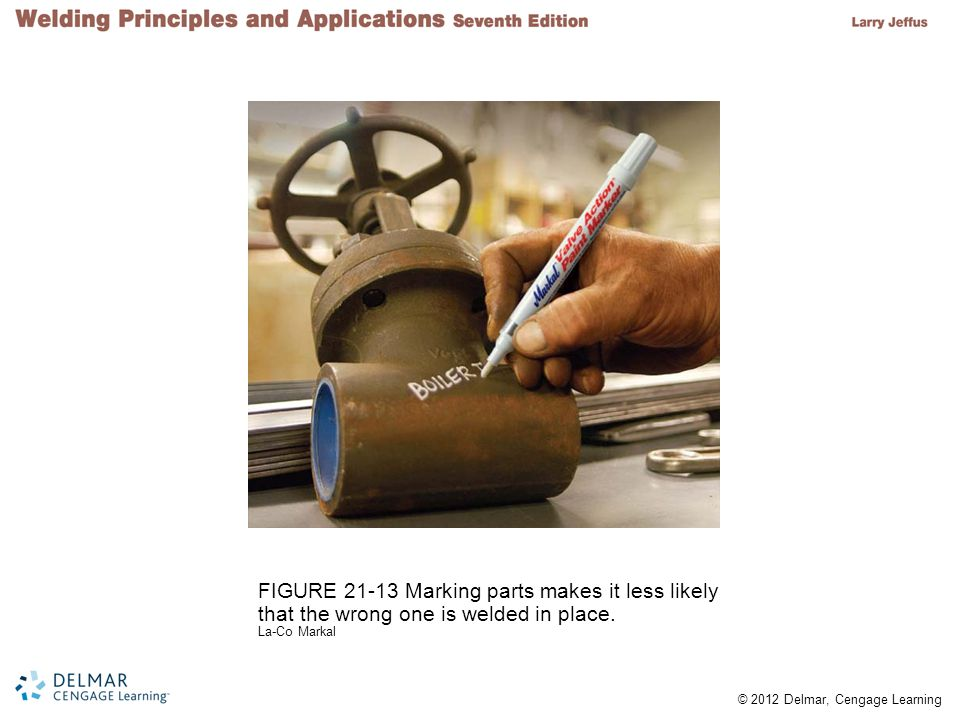FIGURE 21-13 Marking parts makes it less likely that the wrong one is welded in place.