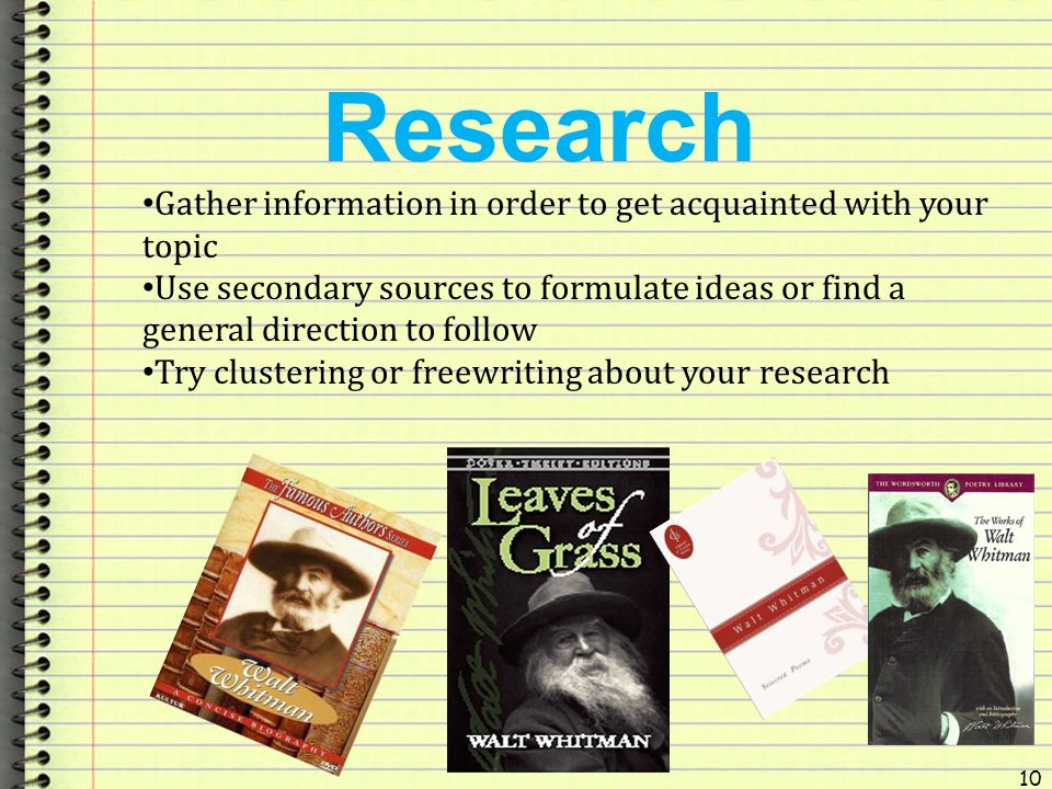 Research Gather information in order to get acquainted with your topic