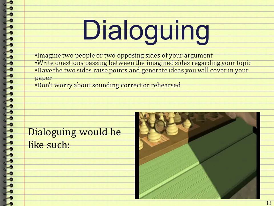 Dialoguing Dialoguing would be like such:
