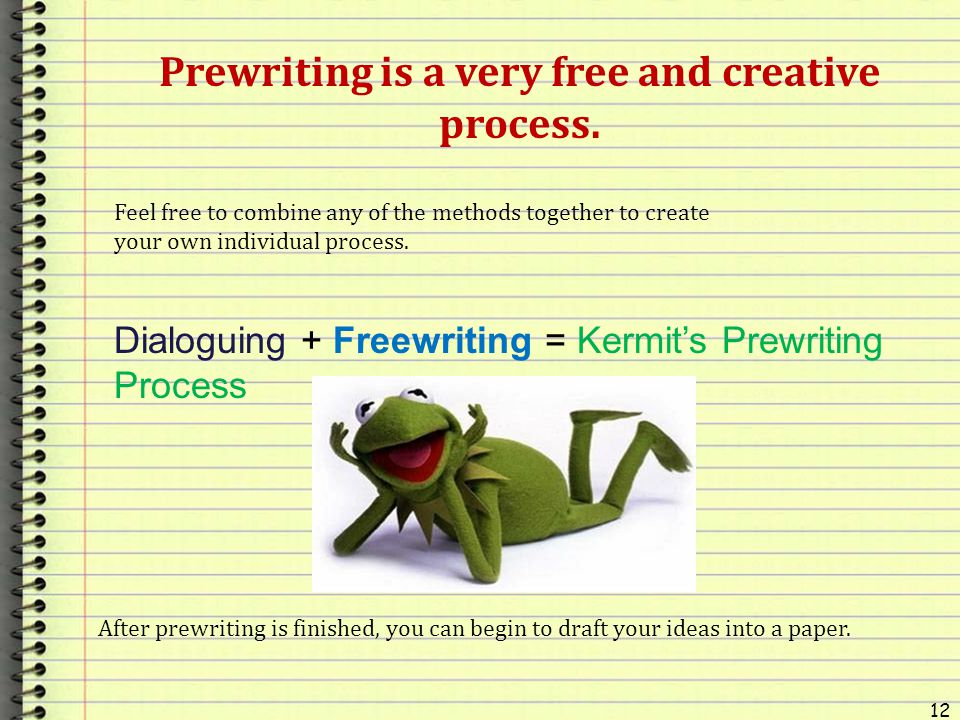 Prewriting is a very free and creative process.