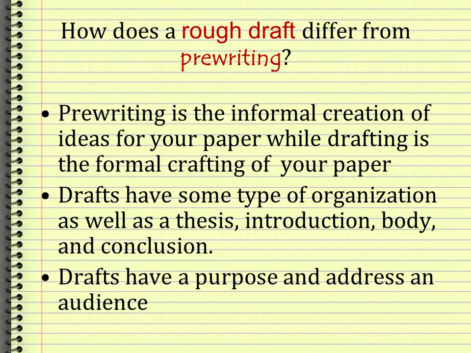 How does a rough draft differ from prewriting