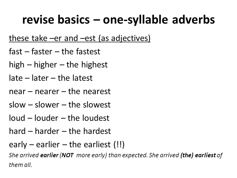 revise basics – one-syllable adverbs