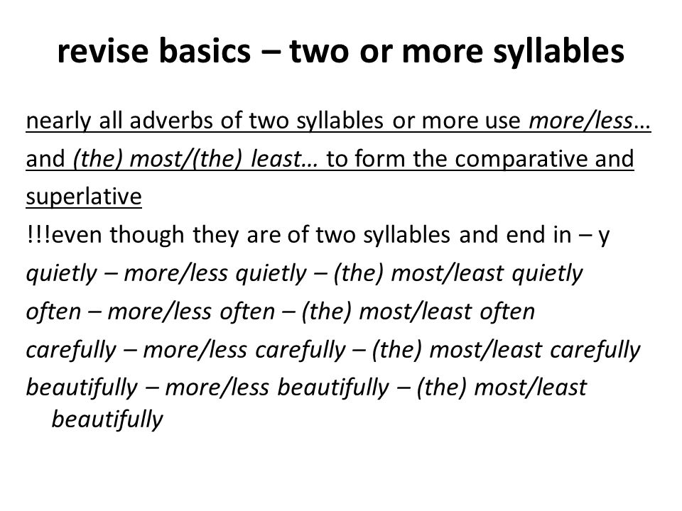 revise basics – two or more syllables