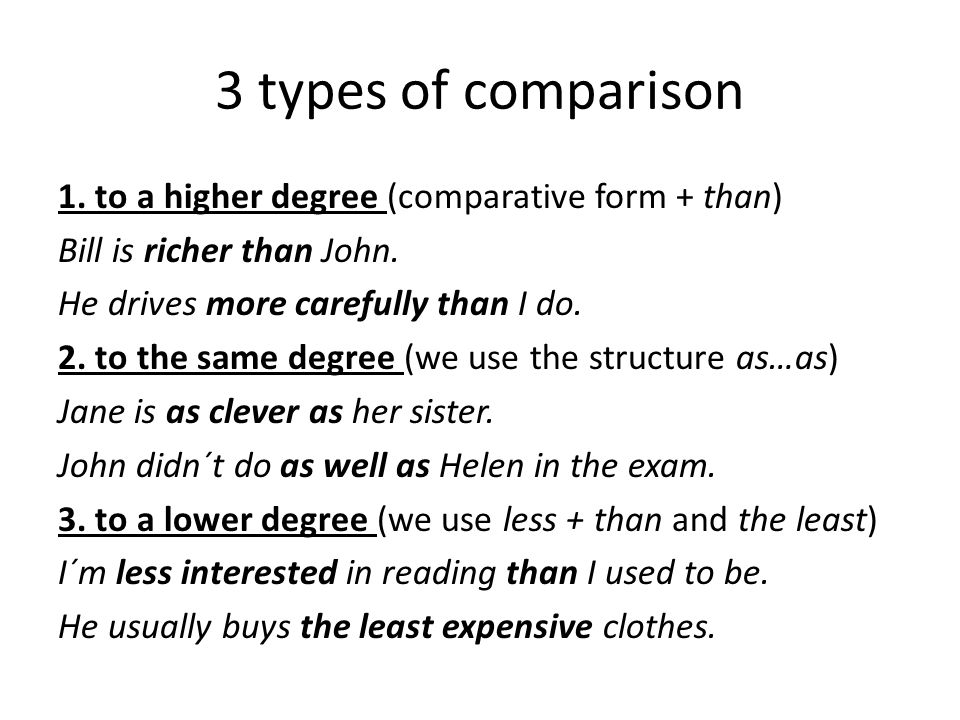3 types of comparison