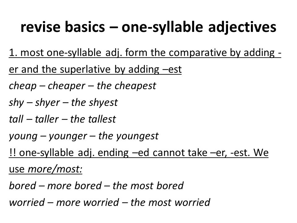 revise basics – one-syllable adjectives