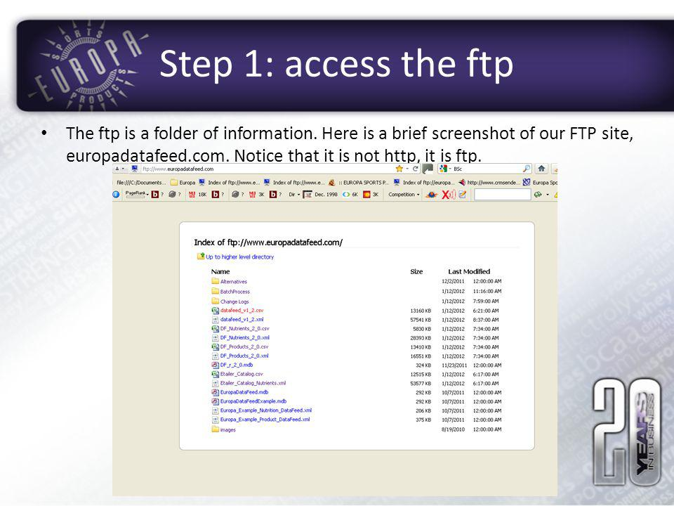 Step 1: access the ftp