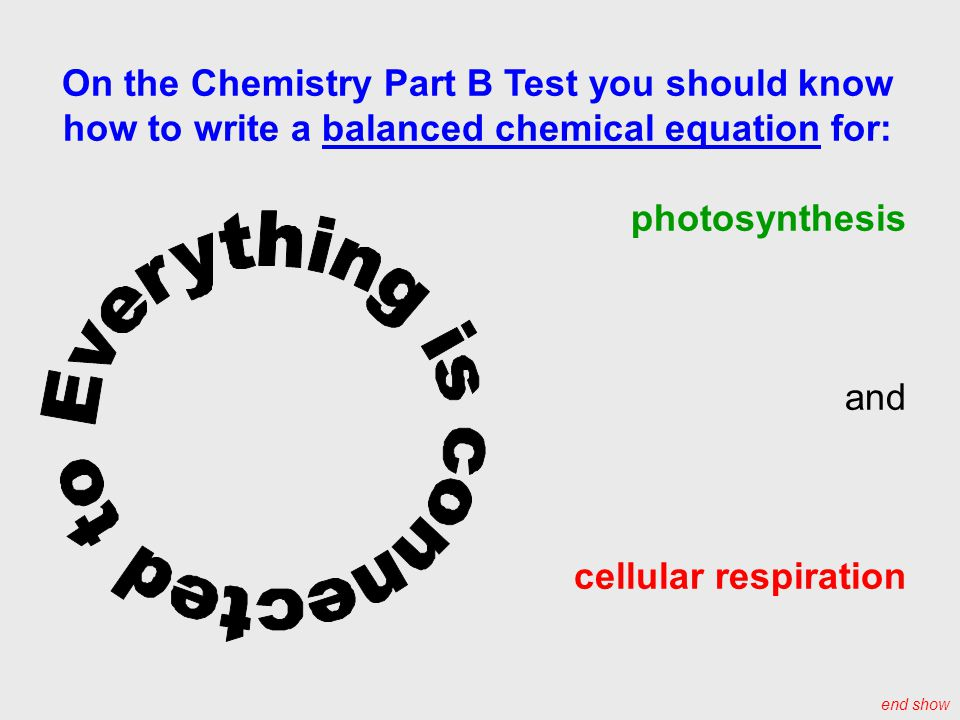 On the Chemistry Part B Test you should know how to write a balanced chemical equation for: