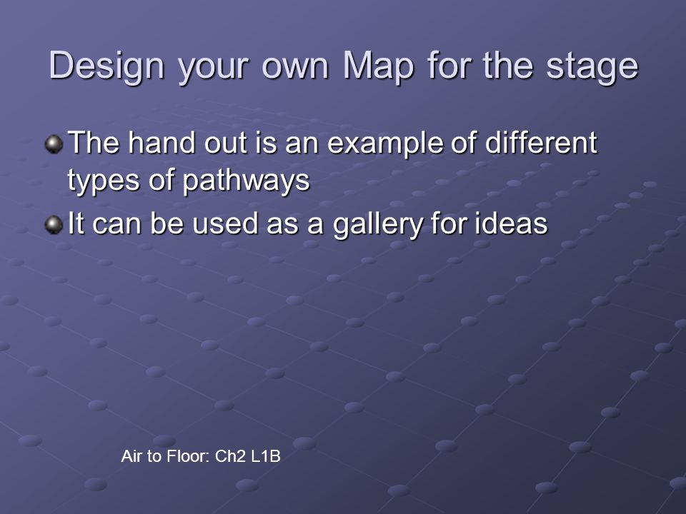 Design your own Map for the stage