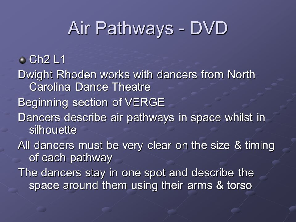 Air Pathways - DVD Ch2 L1. Dwight Rhoden works with dancers from North Carolina Dance Theatre. Beginning section of VERGE.