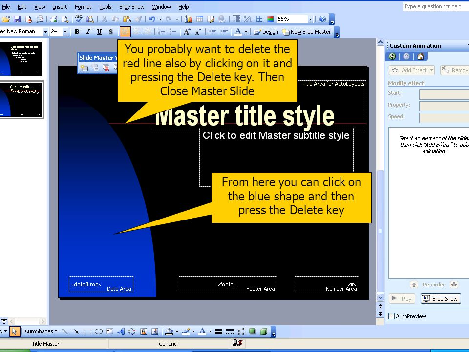 Title and Slide Masters
