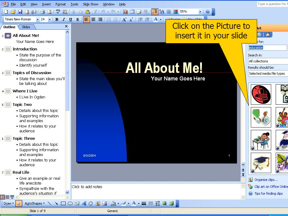To insert clip art click on Insert > Picture > Clip Art