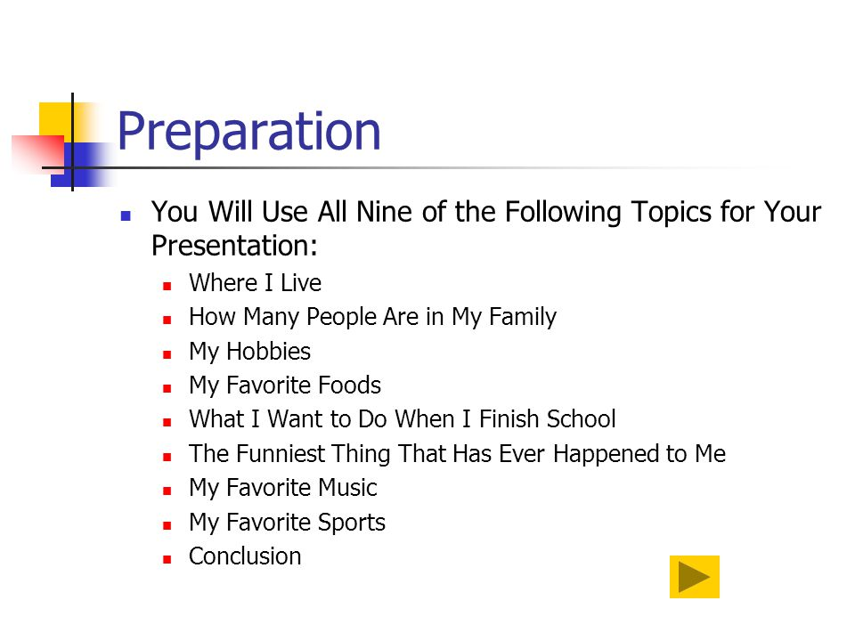 Preparation You Will Use All Nine of the Following Topics for Your Presentation: Where I Live. How Many People Are in My Family.