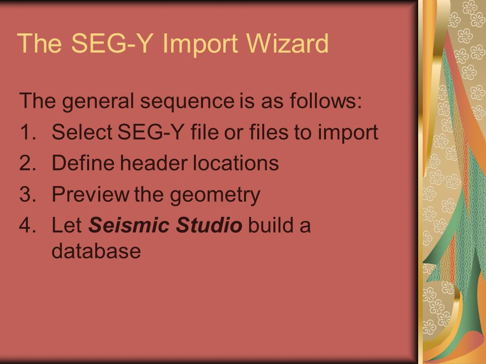 The SEG-Y Import Wizard