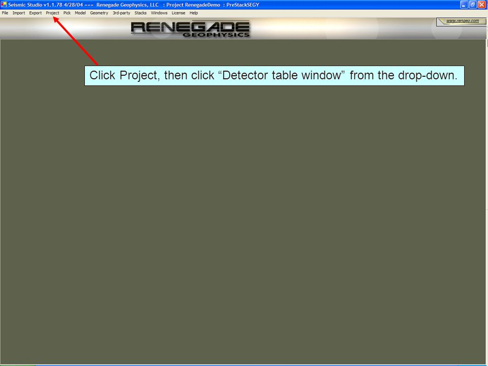 Click Project, then click Detector table window from the drop-down.