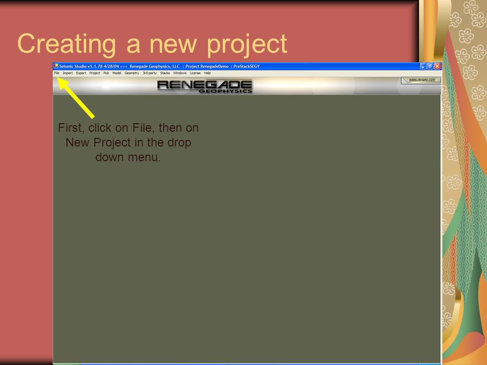 First, click on File, then on New Project in the drop down menu.