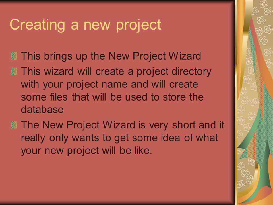 Creating a new project This brings up the New Project Wizard