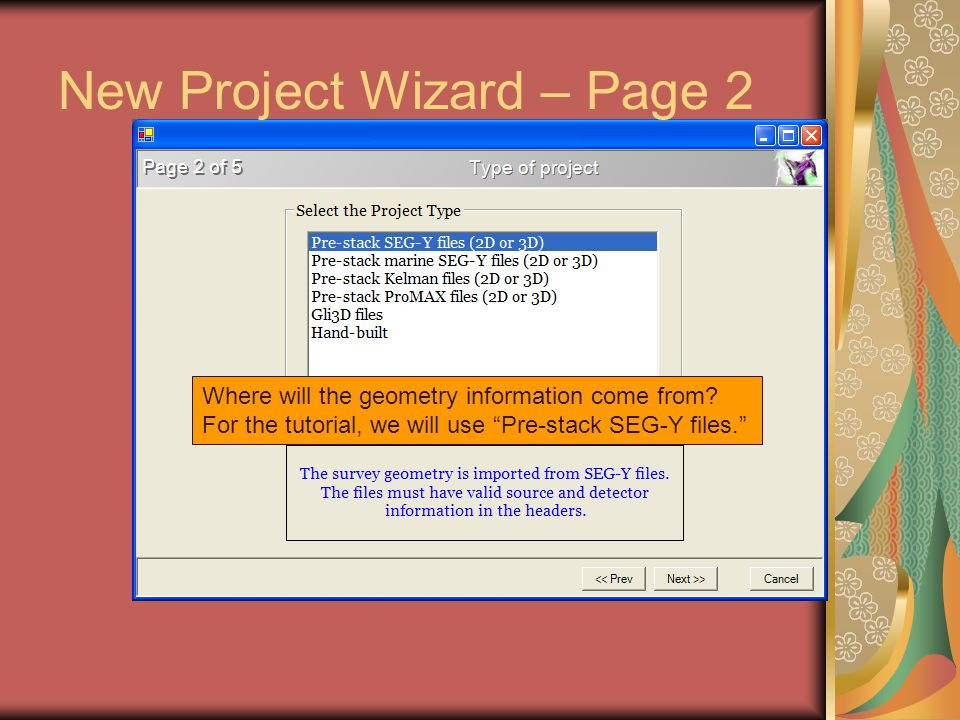 New Project Wizard – Page 2