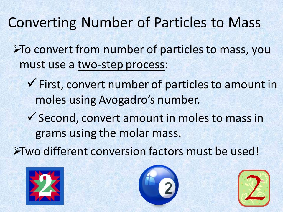 Converting Number of Particles to Mass