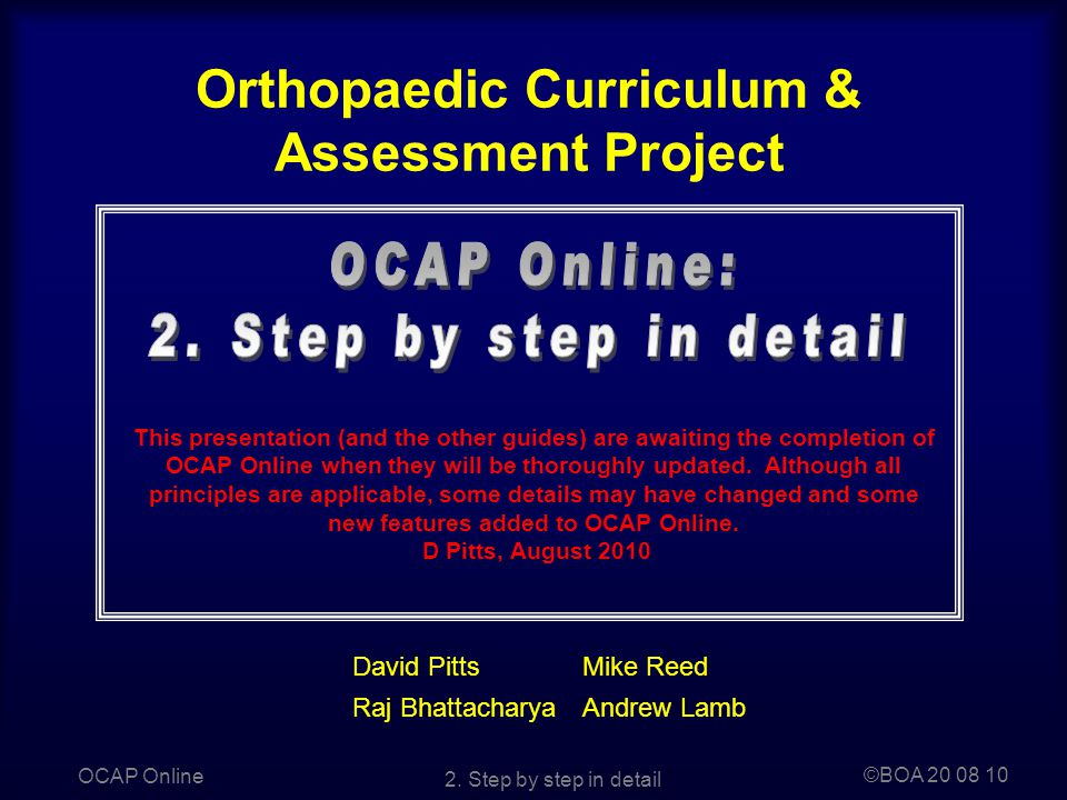 Orthopaedic Curriculum & Assessment Project