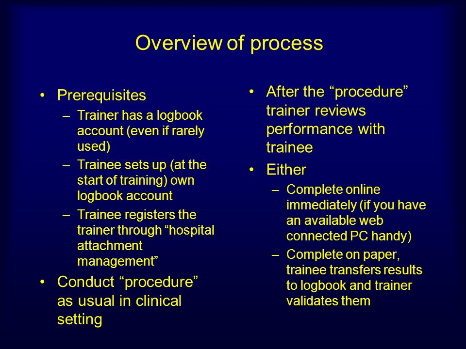 Overview of process After the procedure trainer reviews performance with trainee. Either.