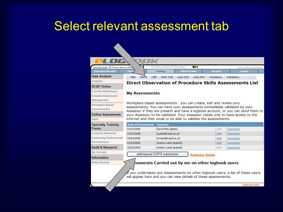Select relevant assessment tab