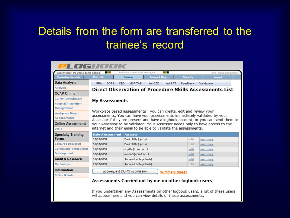 Details from the form are transferred to the trainee's record