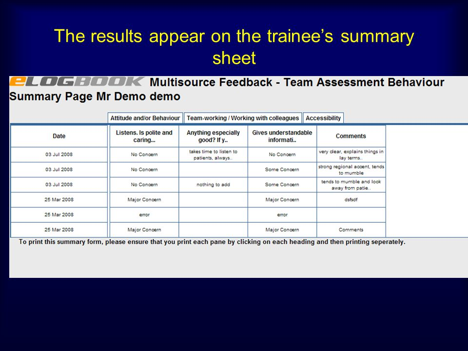 The results appear on the trainee's summary sheet