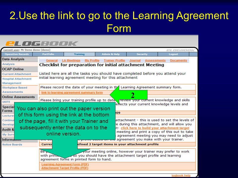 2.Use the link to go to the Learning Agreement Form