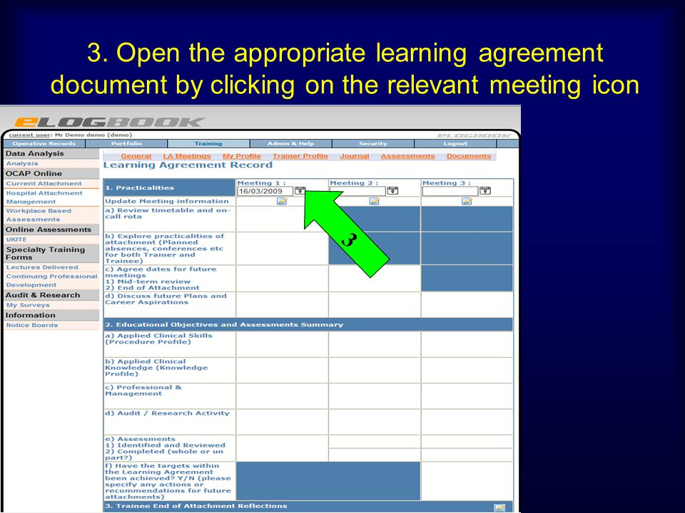 3. Open the appropriate learning agreement document by clicking on the relevant meeting icon