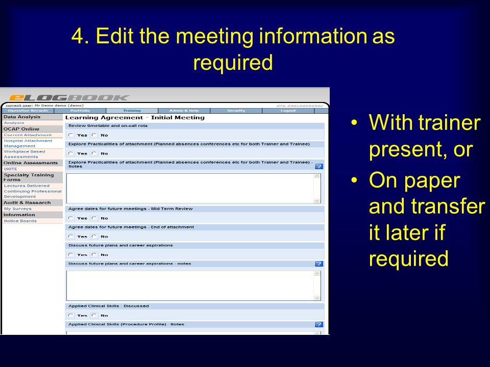 4. Edit the meeting information as required