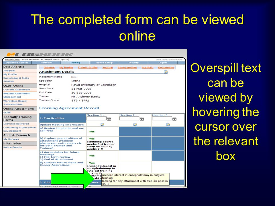 The completed form can be viewed online