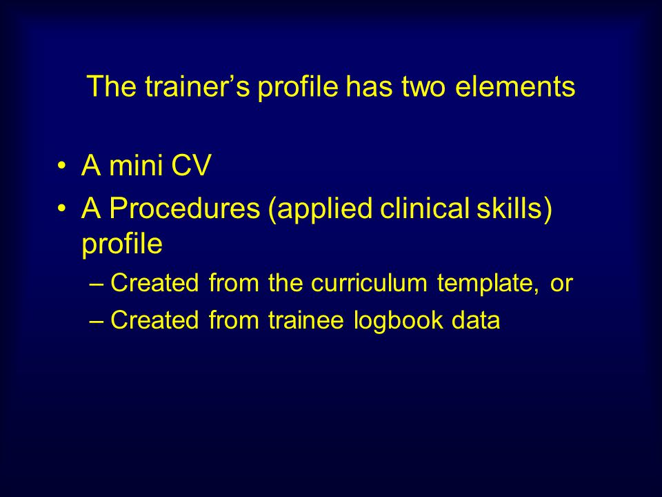 The trainer's profile has two elements