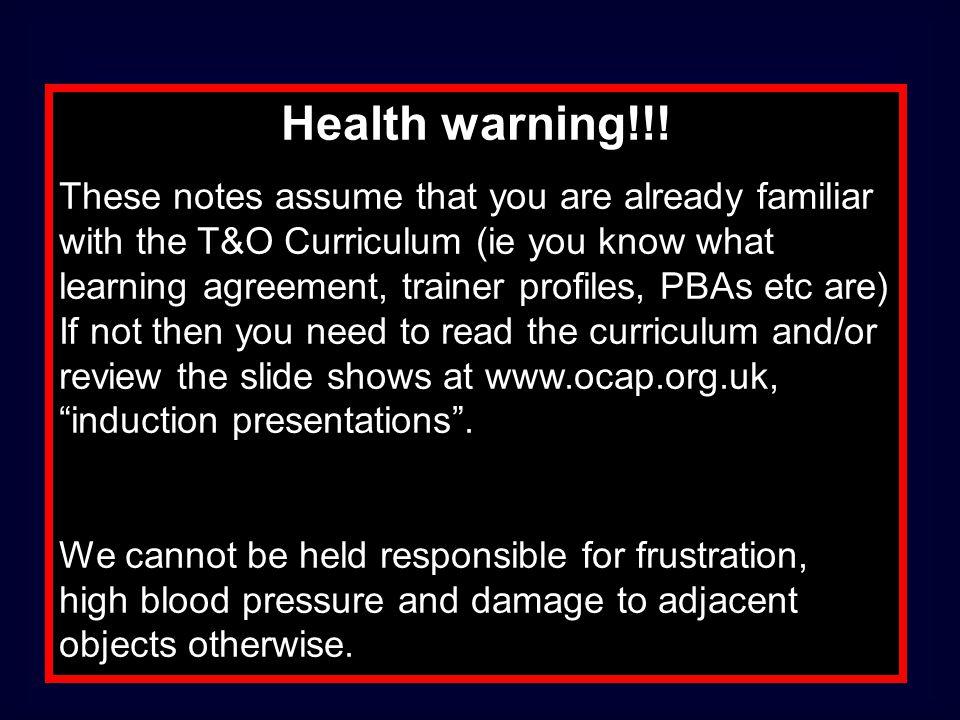 Health warning!!!