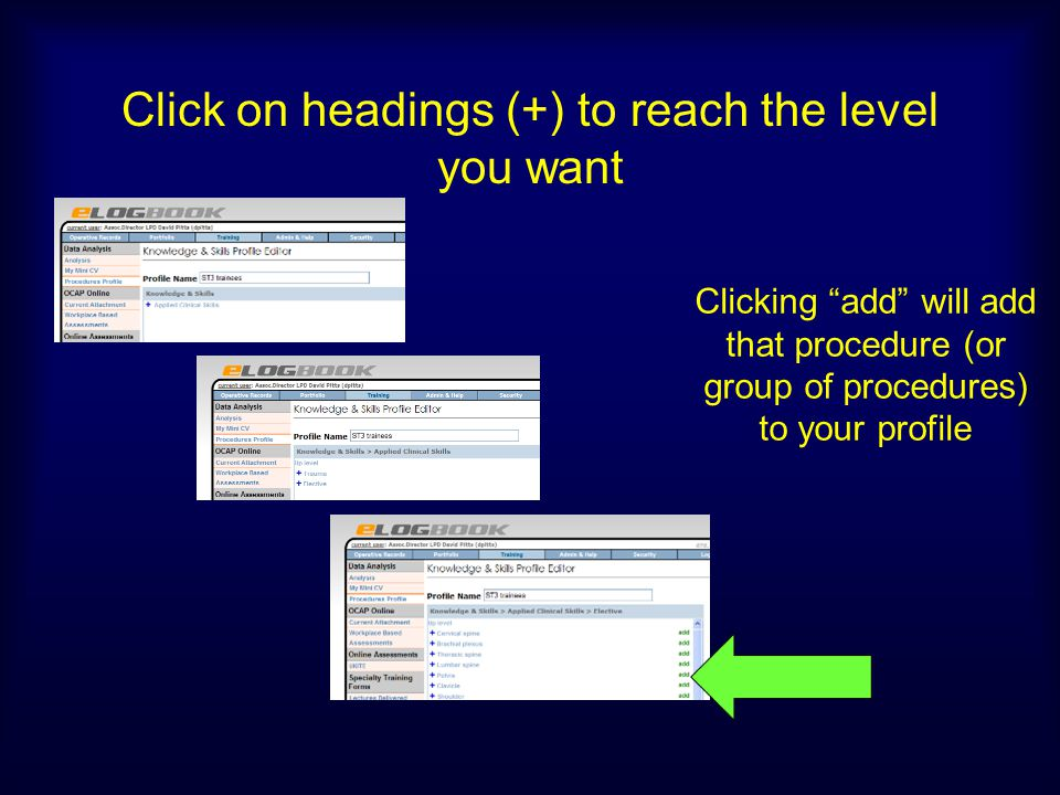 Click on headings (+) to reach the level you want