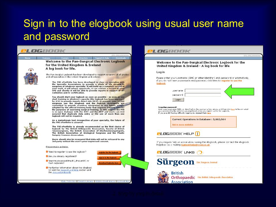Sign in to the elogbook using usual user name and password