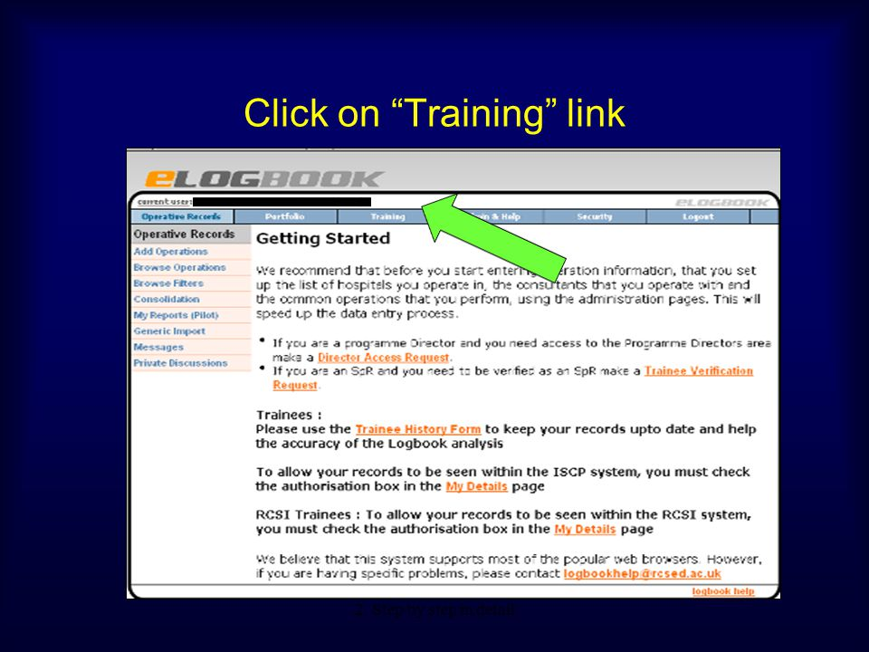 Click on Training link