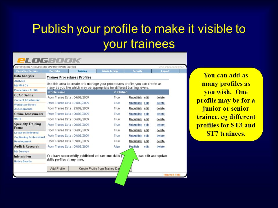 Publish your profile to make it visible to your trainees